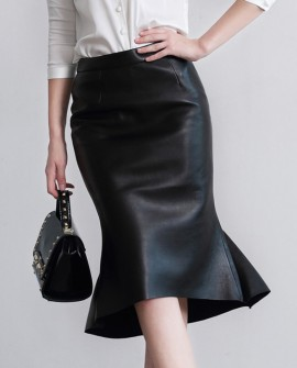 Sheep Leather Fishtail Skirt 015a