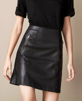 Sheepskin Real Leather A-line Skirt 016a