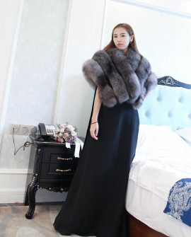 Silver Blue Fox Fur Cape 910f