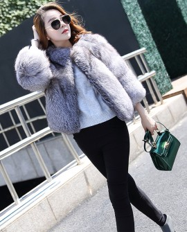 Whole-Skin Silver-Blue Fox Fur Jacket