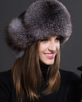 Silver Blue Fox Fur Trapper Hat 857a