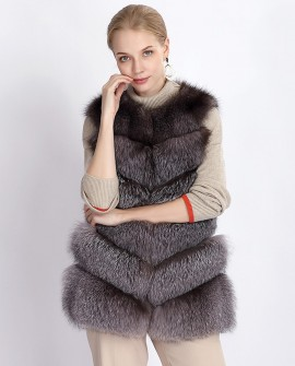 Silver Blue Fox Fur Vest 377a