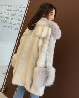 Silver-Cross Mink Fur Coat with Shadow-Blue-Frost Fox Fur Trim
