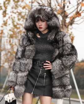 Silver Fox Fur Coat with Hood