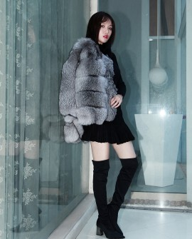 Silver Fox Fur Cropped Jacket 0007i