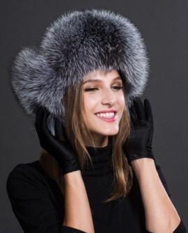 Silver Fox Fur Trapper Hat 856b