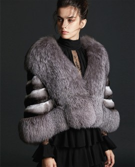 Silver Fox Fur Trimmed Chinchilla Fur Cape 0075a