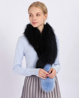 Tailed Raccoon Fur Shawl 366a