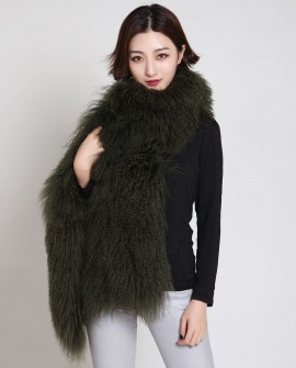 Tibet Sheep Fur Shawl 877 Olive 1