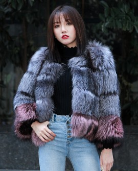 Two-tone Silver Fox Fur Cropped Jacket 0006c