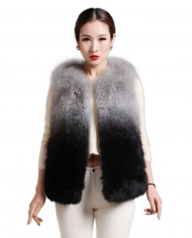 Women's Fox Fur Gilet in Gradient Colors