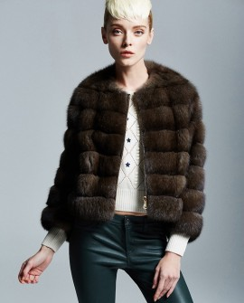 Zipped Sable Fur Jacket 174a