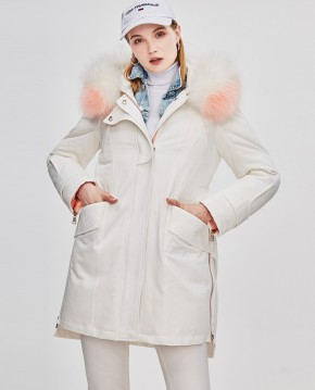 Raccoon Fur Trimmed Hooded Down-filled Winter Coat 0015a