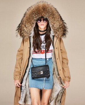 Raccoon Fur Trimmed Hooded Long Parka with Detachable Liner 123a