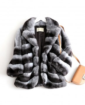 Rex Rabbit Fur Jacket with Chinchilla Look 0117a
