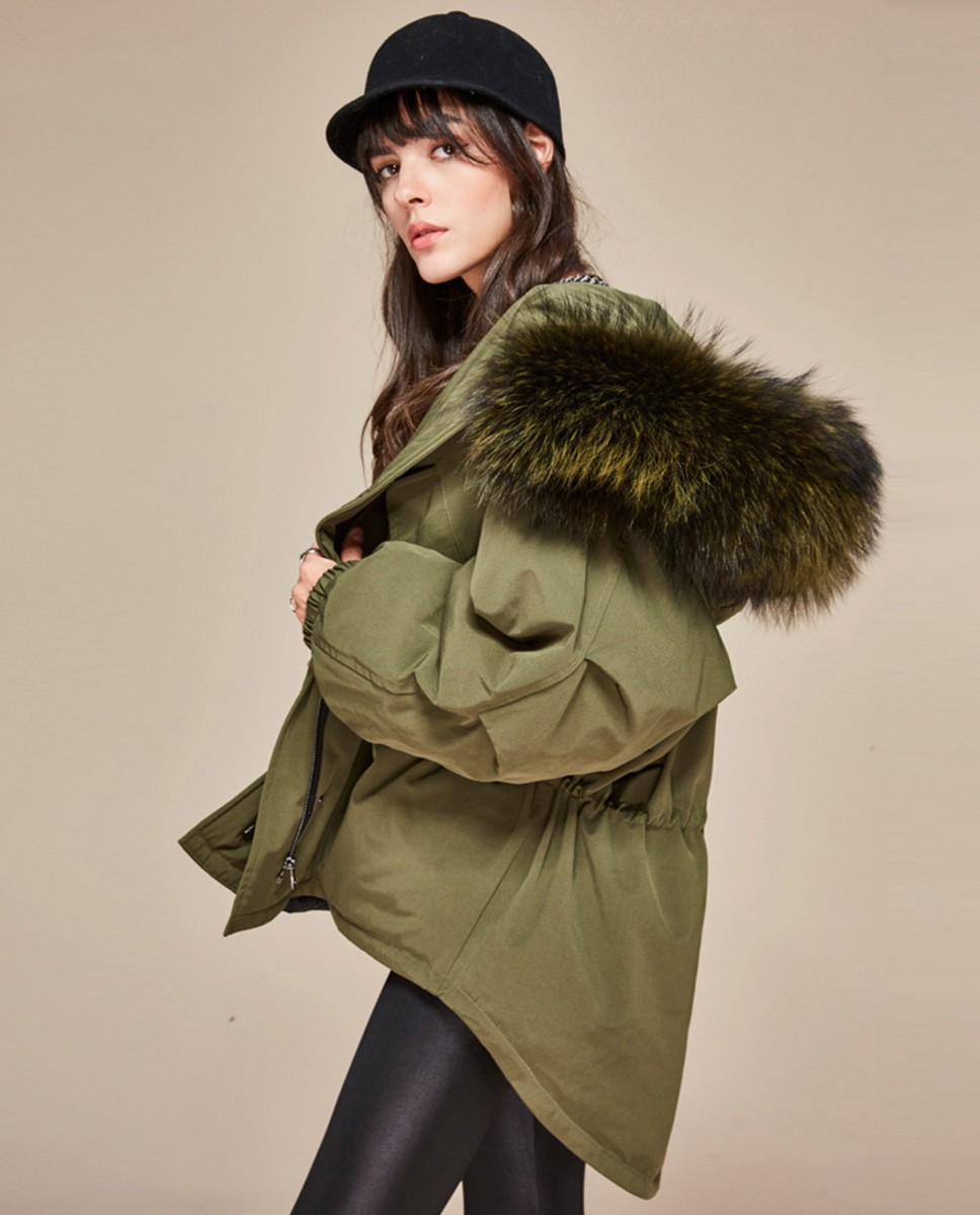 Raccoon Fur Trimmed Hooded Down-filled Parka