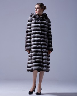 3/4 Length Chinchilla Fur Long Coat with Hood
