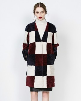 3/4 Length Plaid Shearling Sheepskin Wool Coat