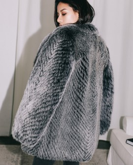 Black Frost Fox Fur Coat
