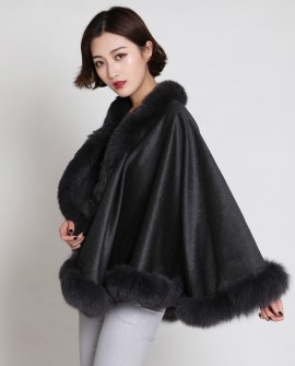 Cashmere Cape with Fox Fur Trim-Slate-Gray