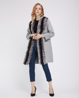 Cashmere Cardigan Coat with Rex Rabbit Fur Trimming