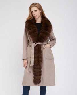 Cashmere Long Coat with Fox Fur Trim