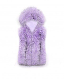 Cropped Raccoon Fur Vest with Hood