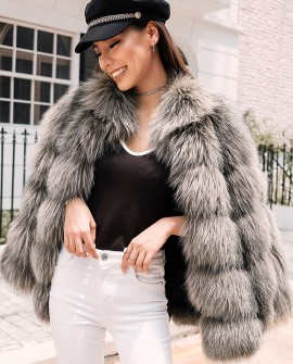 Cropped Silver Fox Fur Jacket