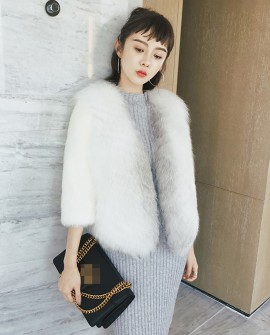 Cross Fox Fur Jacket with Mink Fur Sleeves