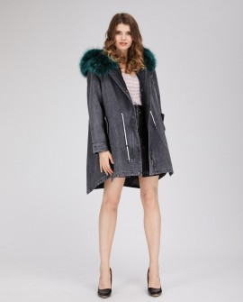 Denim Parka with Rex-Rabbit Fur Liner and Raccoon Fur Trimmed Hood