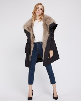 Detachable Fox Fur Lined Parka with Zipped Hood