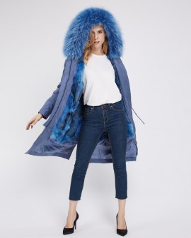 Detachable Fox Fur Lined Parka with Raccoon Fur Trimmed Hood