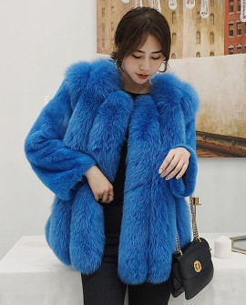Fox Fur Jacket with Mink Fur Sleeves