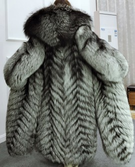 Full length Silver Fox Fur Long Coat with Hood