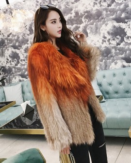Gradient Color Knitted Fox Fur Jacket