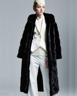 Hooded Black Mink Fur Long Coat