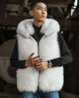 Hooded Men's Fox Fur Vest