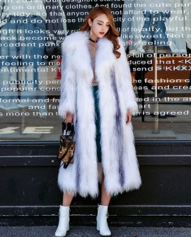 Knitted Cross Fox Fur Long Coat