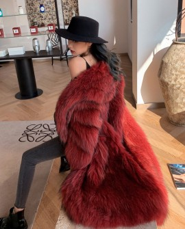 Knitted Raccoon Fur Long Coat