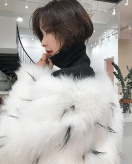 Knitted White Fox Fur Coat