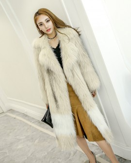 Long Length Knitted Fashion Fox Fur Coat