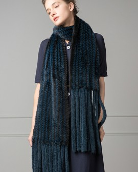 Long Mink Fur Knitted Shawl