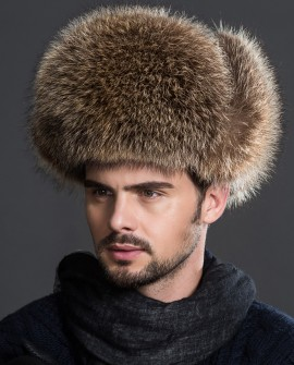 Men's American Raccoon Fur Trapper Hat