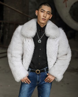Men's Fox Fur Bomber Jacket