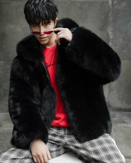 Men's Fox Fur Hooded Black Coat
