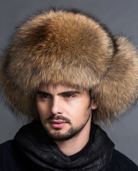Men's Raccoon Fur Trapper Hat