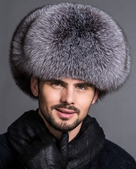 Men's Silver Blue Fox Fur Trapper Hat