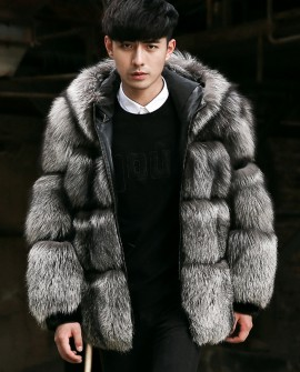 Men's Silver Fox Fur Jacket