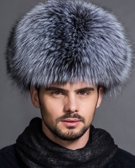 Men's Silver Fox Fur Trapper Hat