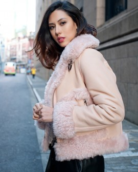 Merino Shearling Sheepskin Reversible Cropped Jacket - Pink